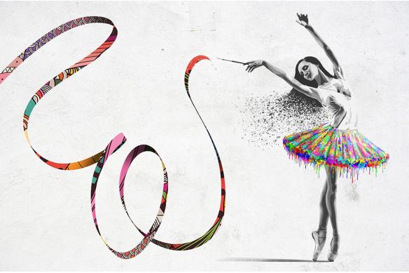 papier peint intissé danseuse et ruban coloré