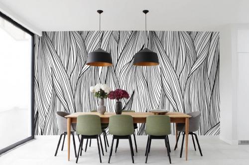 Papier peint feuillage jungle noir et blanc