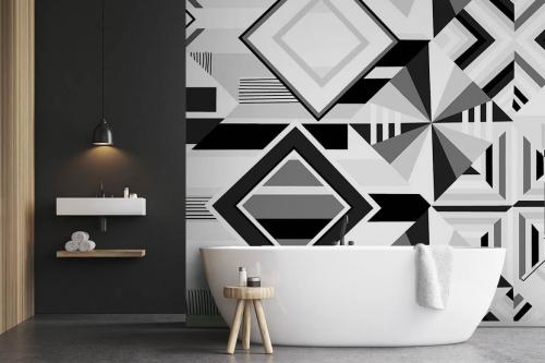 Papier peint graphique Diagonal noir et blanc