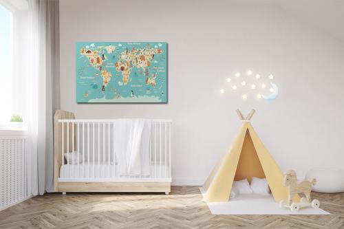 décoration chambre enfant carte du monde animaux bleu