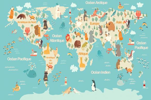 tableau carte du monde animaux bleu