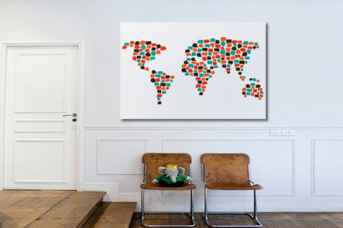 Carte du monde Tableau sur toile Communications