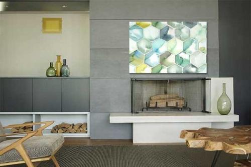 Tableau sur toile Hexagone aquarelle