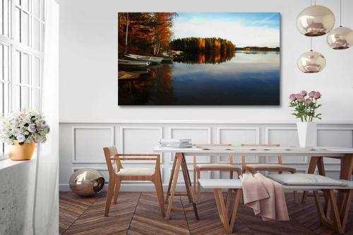 décoration salon salle a manger lac automnal