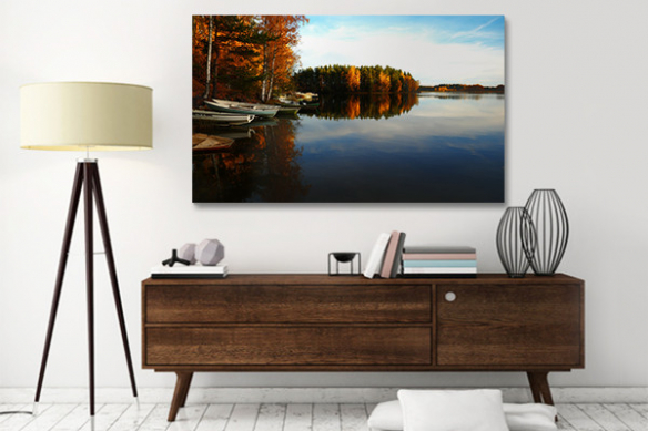 tableau paysage panorama lac automnal