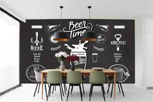 Papier peint cuisine vintage Beer Time