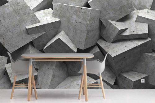 Papier peint 3D Cubes Béton