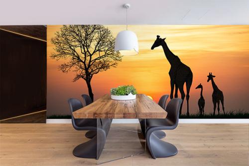 Papier peint Savane Girafes