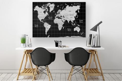 Tableau carte du monde Noir et blanc Design