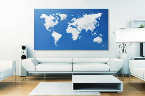 tableau carte du monde nuage bleu