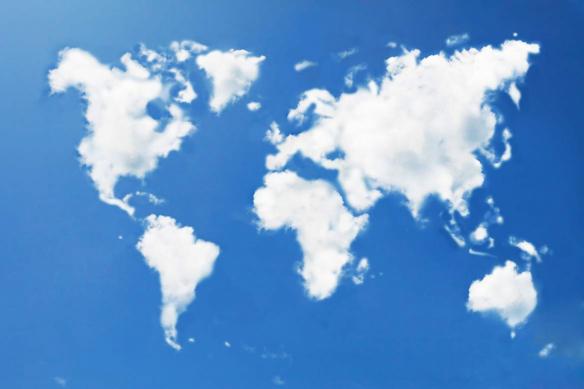tableau bleu carte du monde nuage