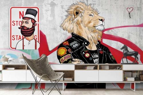 Papier peint design style industriel Fier comme un Lion