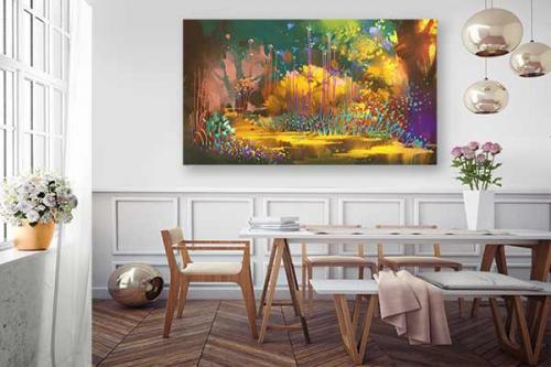 décoration-salle-a-manger-tableau-foret-imaginaire