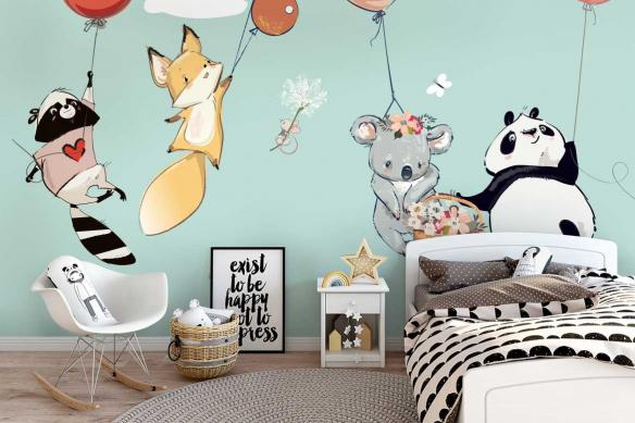 Papier peint chambre enfant Envol en ballons