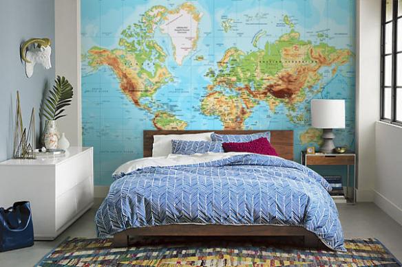 Papier peint carte du monde Réaliste