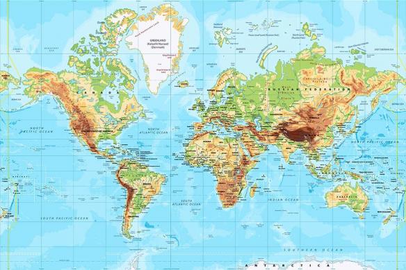 papier peint vinyle lessivable carte du monde