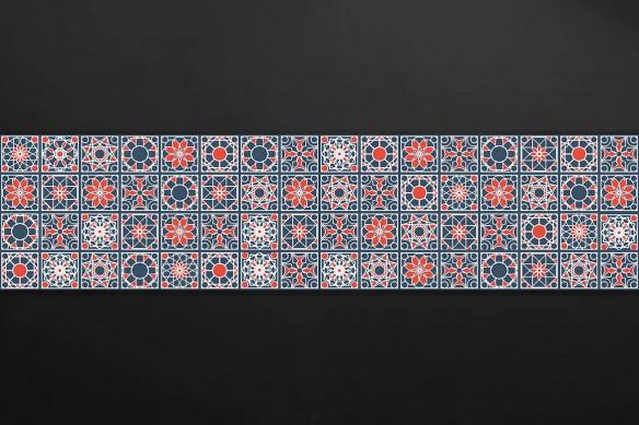 credence sur mesure carreau ciment rouge et bleu
