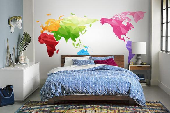 papier peint chambre carte du monde arc en ciel