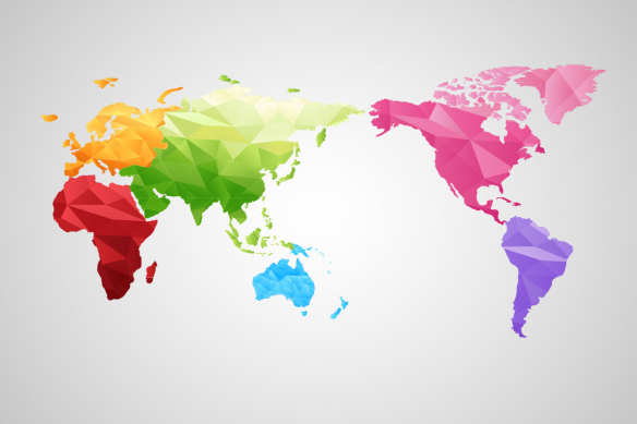 papier peint carte du monde arc en ciel