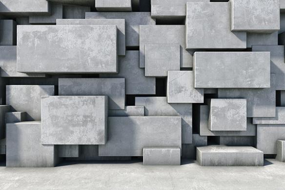 papier peint gris cube effet béton