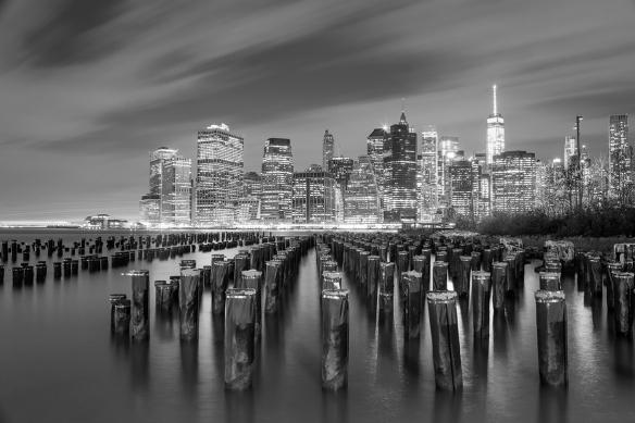 papier peint noir et blanc vue sur Manhattan
