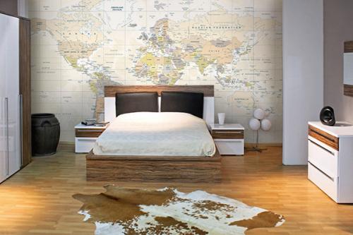 papier peint chambre carte du monde jaune