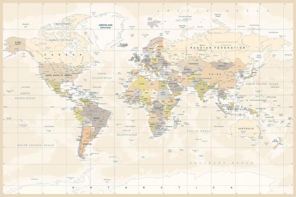 papier peint carte du monde jaune