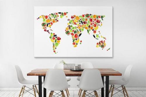 Tableau cuisine carte du monde Fruits et Légumes