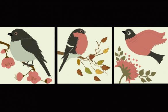 Tableau multi panneaux Comme un Oiseau sur la Branche