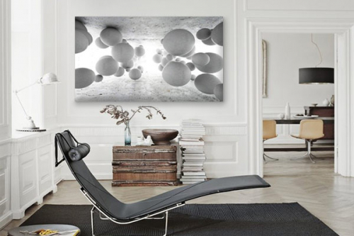 Tableau style industriel gris 3d boules