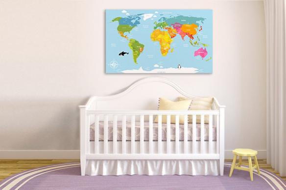 Tableau planisphère coloré pour enfant