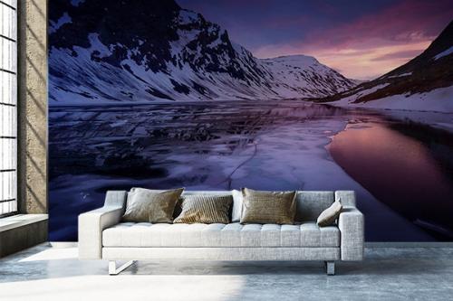 Papier peint panoramique Fjord Couché de soleil