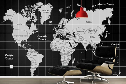 Papier peint carte du monde noir et blanc design