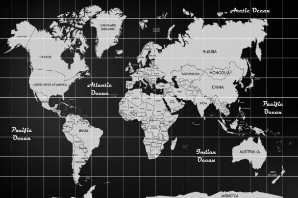 carte du monde noir et blanc poster mural