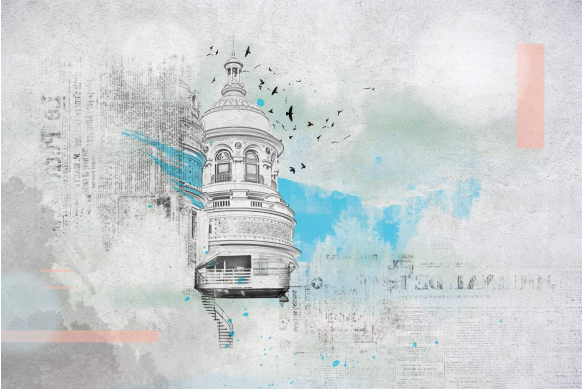 papier peint intissé bleu ciel coupole