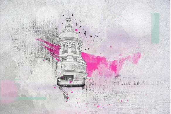 papier peint coupole rose