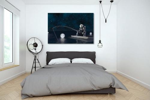 décoration chambre moderne tableau original pecheur astronaute