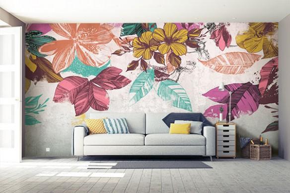 Papier peint grosses fleurs Bouquet mural