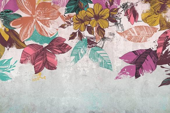 Papier-peint-fleuri-bouquet-mural-violet