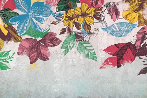 tapisserie-murale-fleurie-bouquet-mural-bleu
