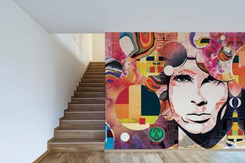 Poster mural Jim Morrison motif coloré