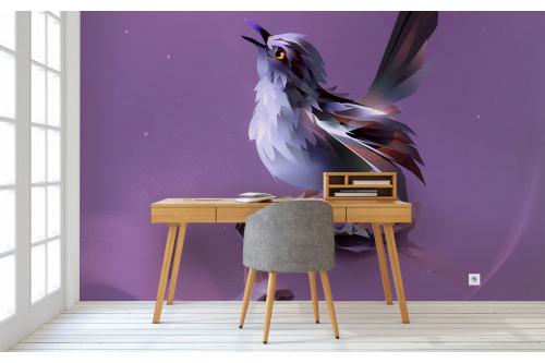 papier peint oiseau graphique violet