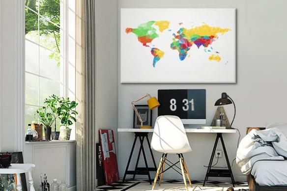 Tableau carte du monde Graphik world