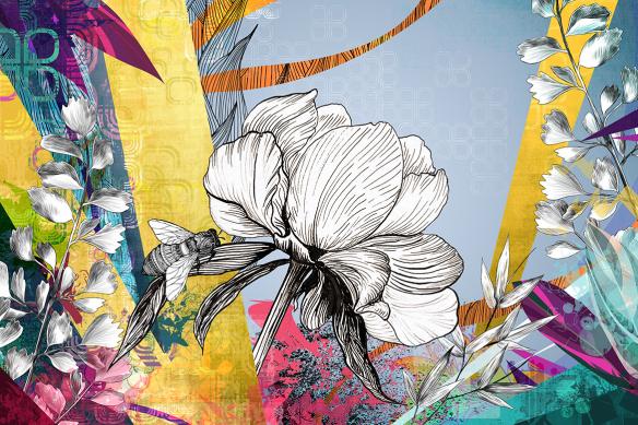 Papier peint fleuri Apparition