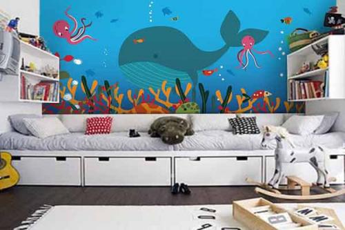 Tapisserie chambre enfant Monde marin