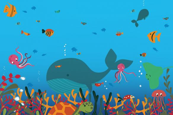 papier peint bleu monde marin