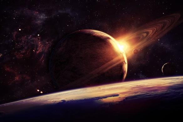 papier peint moderne espace planete