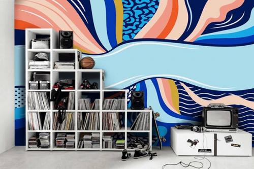 décoration chambre ado papier peint bleu vibration