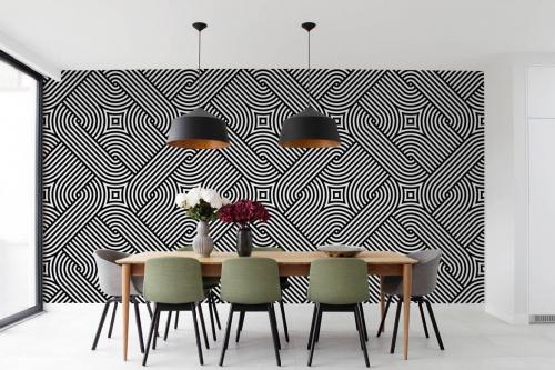 Papier peint graphique noir et blanc Stromboli