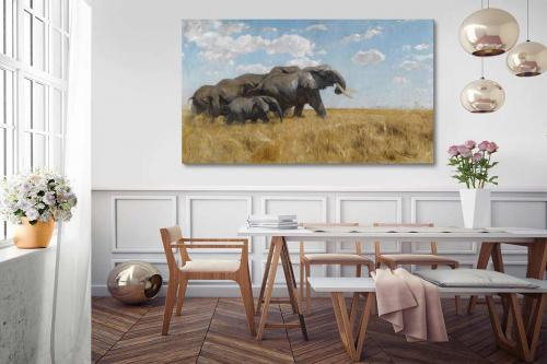 déco africaine tableau éléphant troupeau